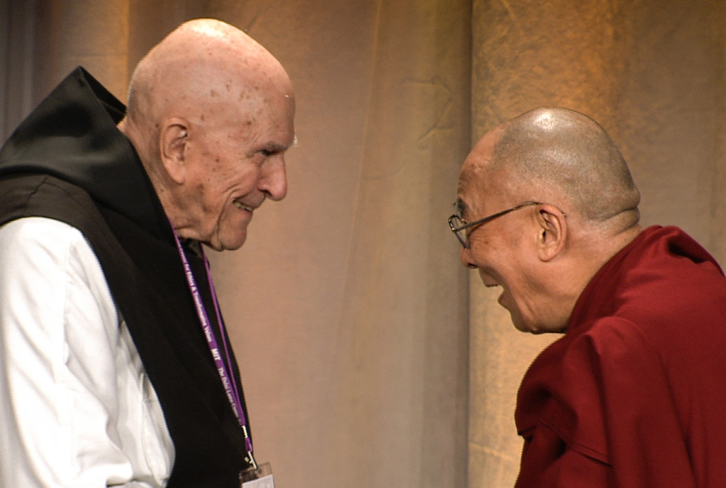 Father Thomas Keating With HH Dalai Lama - Boston - C - 2012-10-14